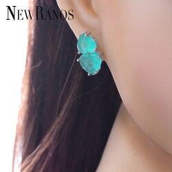 Elegant Crashed Fusion Stone Double Heart Stud Earrings brinco Fashion crystal  Earrings brinco for Women Jewelry EFX001462