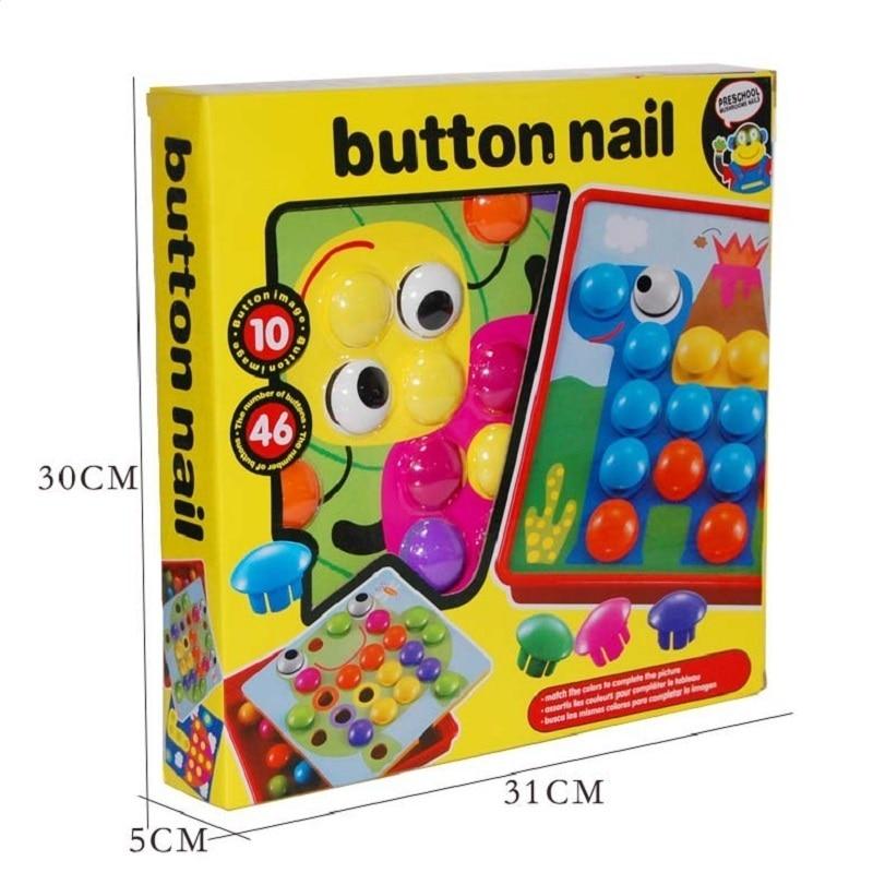 Montessori 10pcs / set Button Nail Puzzle Kids Toys For Children Boys - Teka-teki - Foto 6