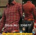 Бесплатная доставка С Длинным рукавом мужская повседневная пледы Весна/Осень рубашки для мужчин красной проверить рубашки Ml XL XXL QR-1163
