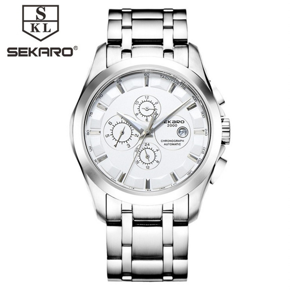 SEKARO Luxury Automatic Mechanical Watch Men's Date Week Multifunction Business Army Watch Horloges Watch Mens Relogio Masculino 2017 new sale mechanical man watch relogio masculino gold white watchband automatic date week movt waterproof mans wristwatches