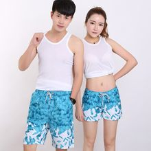 2017 Summer Beach Shorts Couple suit Wear Fashion Print Causal Tracksuit Unisex Casual Board Shorts(China)