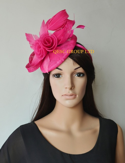NEW 8 colours Hot pink fuchsia Feather Fascinator Kentucky derby Hat  sinamay fascinator hat for Melbourne Cup 3a57ccd2c91