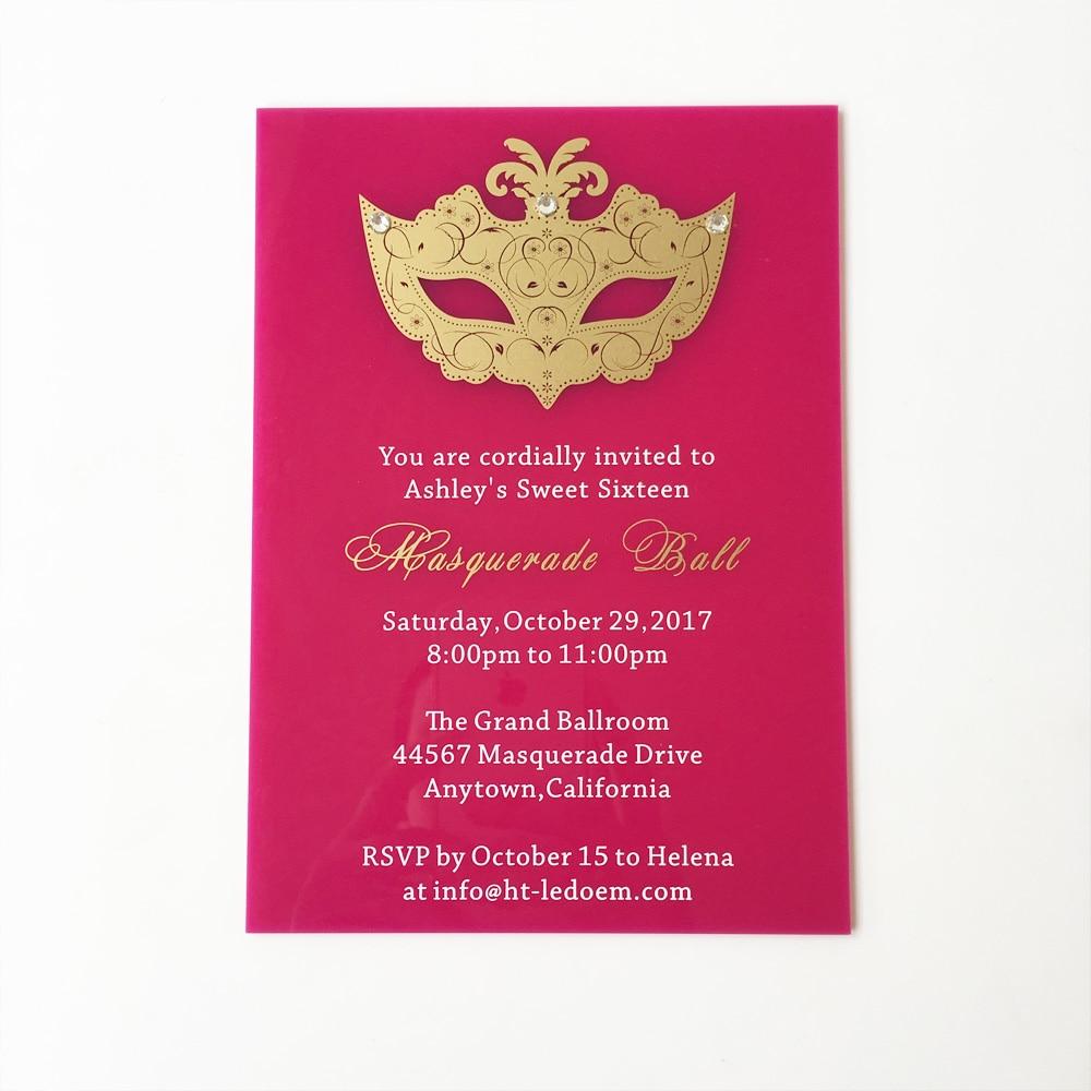 Customized 5x7inch Fuchsia Acrylic Birthday Invitation Card Sweet Six Masquerade Ball 100pcs Per Lot In Cards Invitations From Home