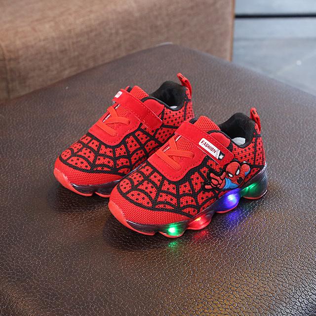 Cartoon Spiderman Kids Boys Sports Sneakers Children Glowing Kids Shoe Chaussure Enfant Girls Shoe With LED light