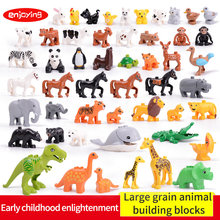 Compatible legoing Duplos Large particles Animal series Model bricks Figures Big Building Blocks Educational Toy for childrens 2018 new mini animals figures minecraft diy accessories bricks set cartoon small model compatible legoing minecrafted blocks toy