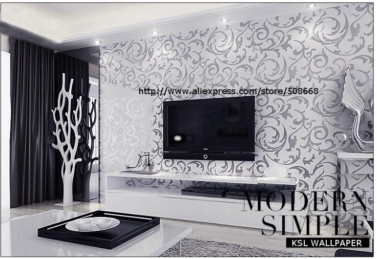 Black grey silver living room for Black and silver living room wallpaper