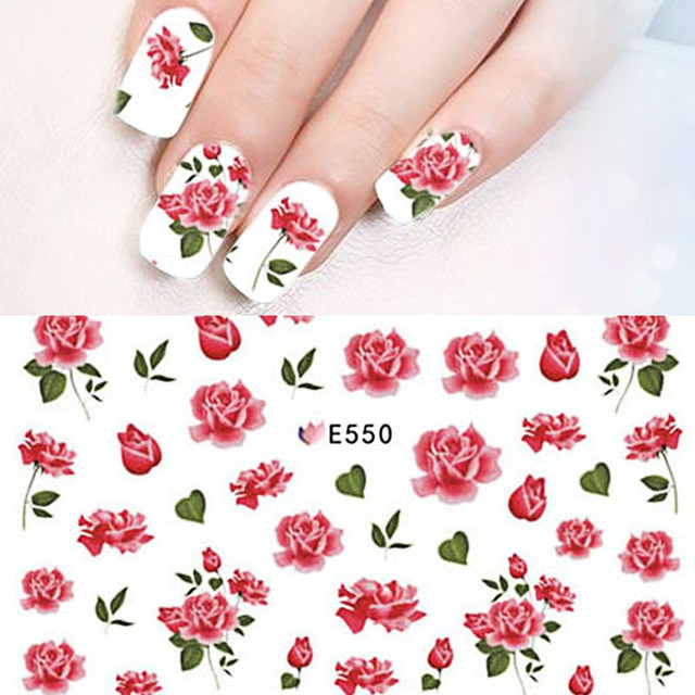 Aliexpress Buy 1 Sheet Red Floral Flower 3d Adhesive Nail