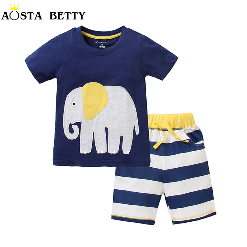 Boy Summer Clothing Set Blue Short Sleeve Tshirt and Blue ...
