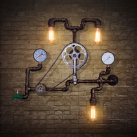 Water pipes American Cafe Bar wall lights retro loft industrial wind pipe wall lamp iron decorative gear aisle ZA SG31