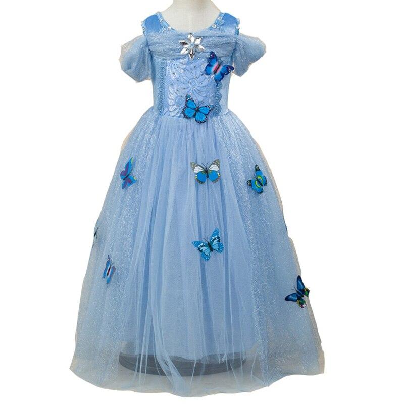ФОТО 2017 New Toddler Kid Girls Wedding Dress Cinderella Lace Mesh Infant Princess Dresses Casual Deguisement Elas Butterfly Clothing