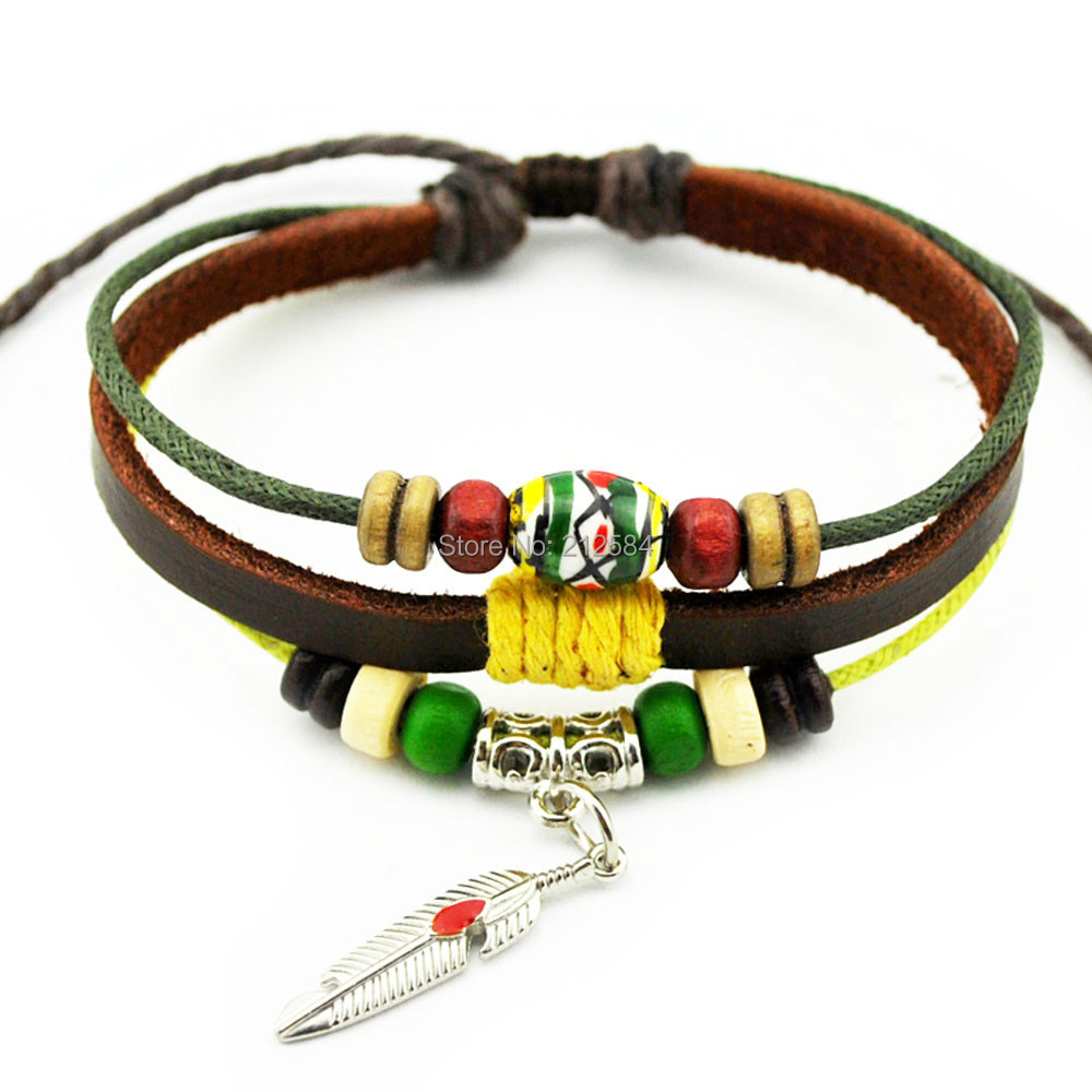 A528 Hot Fashion Handmade Hemp Leather Bracelet Beautiful Beads Wristband  Womens Mens Adjustable Charm Bracelet Free