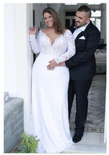 2019 Summer Mermaid White Wedding Dresses Plus Size Long Sleeves Lace Bridal Gowns V Neck Backless