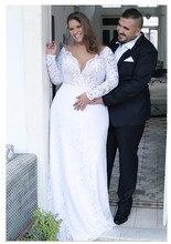 цены на 2019 Summer Mermaid White Wedding Dresses Plus Size Long Sleeves Lace Bridal Gowns V Neck Lace Wedding Dresses Backless  в интернет-магазинах