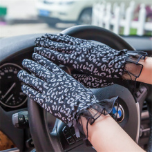 Spring And Summer Sunscreen Ladies Finger Gloves Driving Breathable Non-Slip Fashion Leopard BYR01