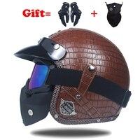 VOSS Vintage PU 3 4 Leather Harley Motorcycle Helmet Open Face Chopper Bike Retro Motocicletas Free