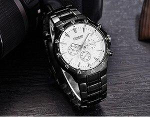 Image 2 - CURREN Fashion Full Steel Quartz Men Watch Analog Sports Male Wristwatch Classic Black&White Horloges Mannens Saat Reloj Hombre