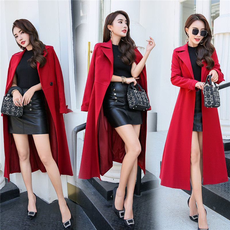 2019 New fashion Spring Autumn Women's X-long   Trench   Coat Long-sleeved Slim With Belt large Swing temperament Maxi Coats X219