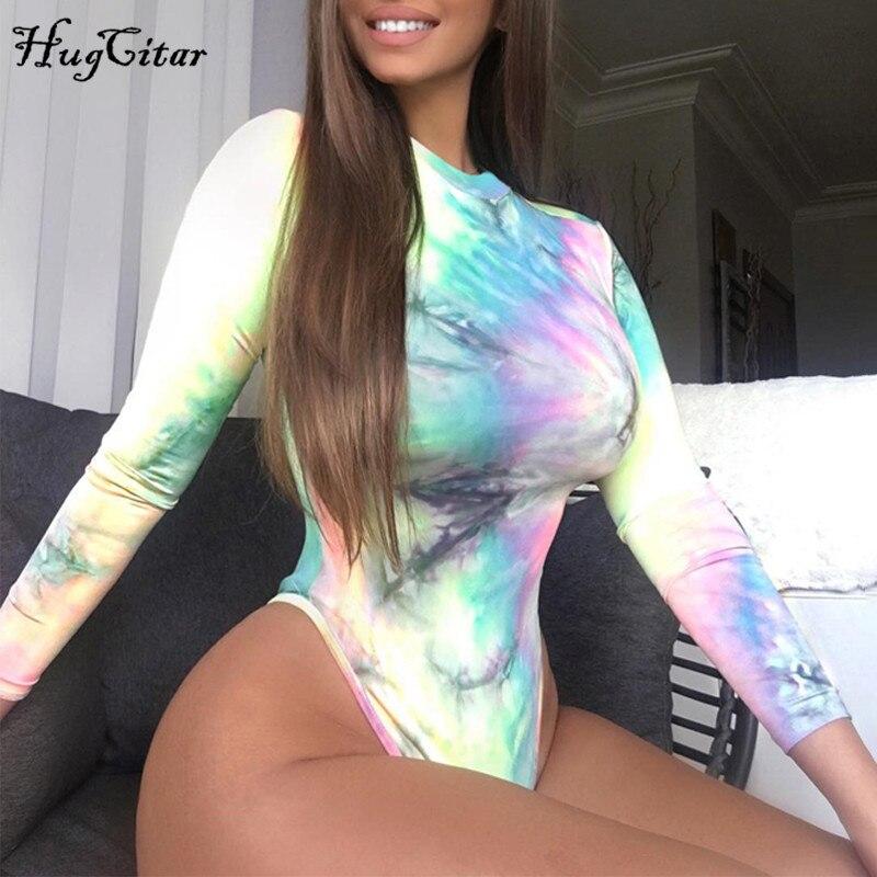 Hugcitar tie dye long sleeve bodycon sexy bodysuit 2019 autumn winter women fashion streetwear colorful body outfits