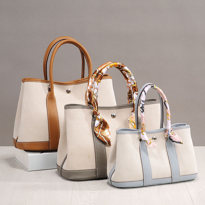 Litchi partten en cuir véritable patchwork toile sac à main grace mode épaule et sac à bandoulière jardin fourre-tout sac shopping sacs de fête