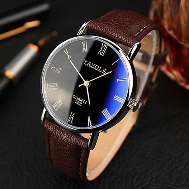 a52388895a7 Relógios homens Brown marca de moda de luxo YAZOLE 268 relógios de quartzo  relógio de couro