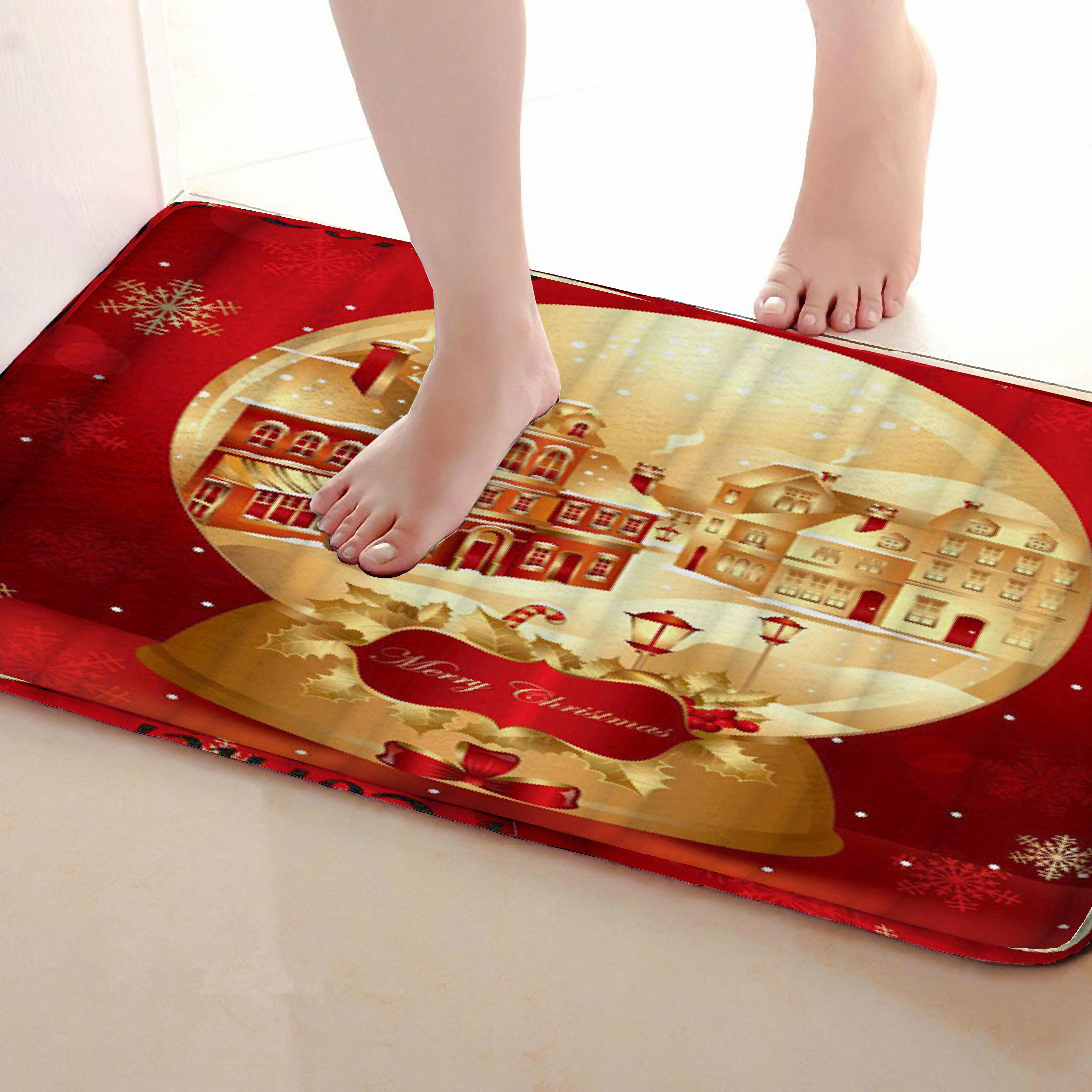 Merry Christmas Style Bathroom Mat,Funny Anti Skid Bath Mat,Shower Curtains Accessories,Matching Your Shower Curtain