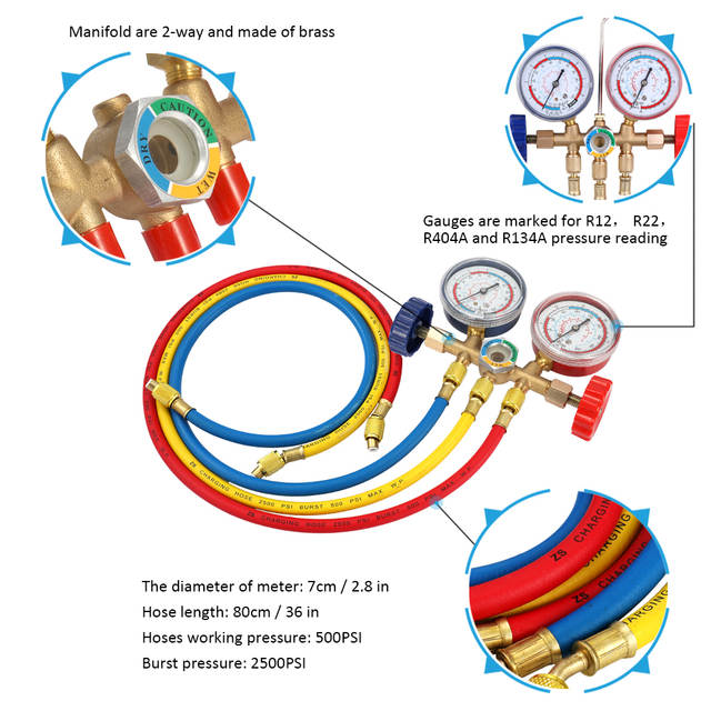 US $21 36 42% OFF|CT 536 Refrigerant Manifold Gauge Set Car Air  Conditioning Tools with Hose and Hook Kit for R12 R22 R404A R134A-in  Pressure Gauges