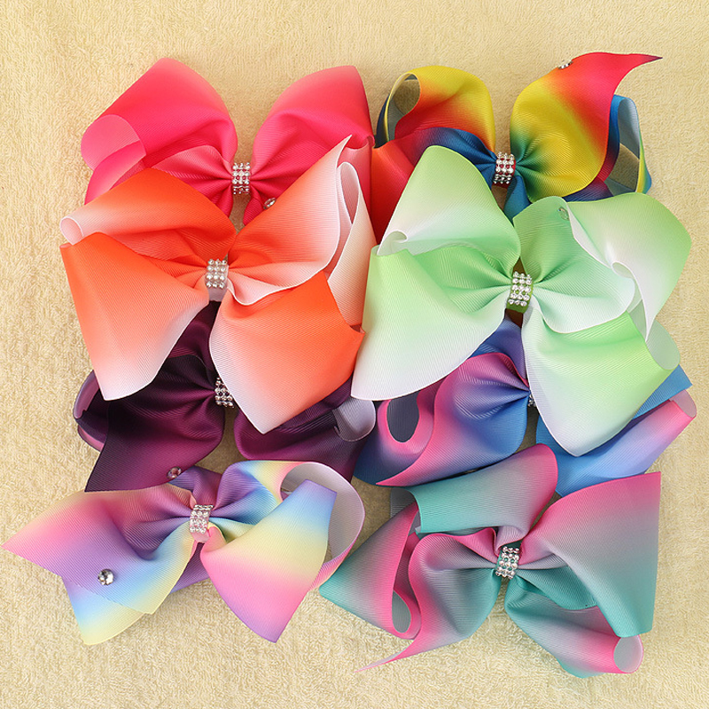 8 Inch Extra Large Rainbow Bow Clip Boutique Grosgrain Rhinestone Hair Ribbon Bows Barrettes HairPins For Girls usd1 69 pc 5inches big stacked boutique bows with 6cm hair clip hairpin 8 colors solid grosgrain ribbon bows hair accessories
