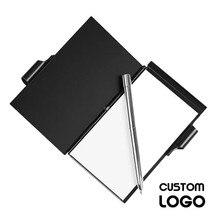 1 Bloc de notas de aluminio con LOGO personalizado, aspecto metálico, Mini cuadernos con bolígrafo, suministros de negocios que se pueden llevar