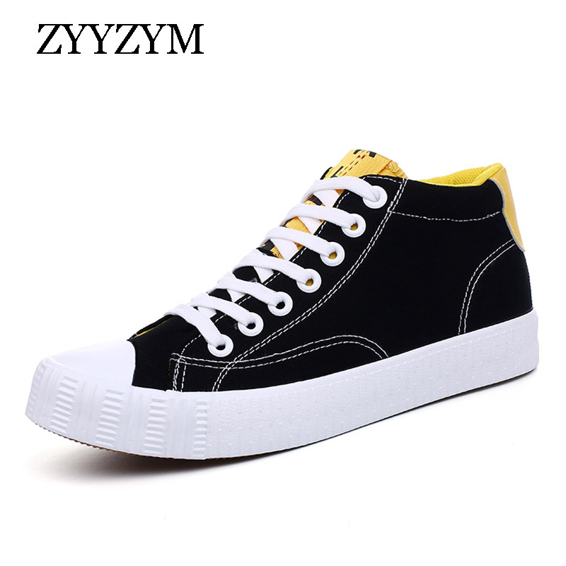 ZYYZYM Fashion Sneakers Men Canvas Shoes Lace up High Autumn Style Men Vulcanized Shoes 2018 New Style fashion style