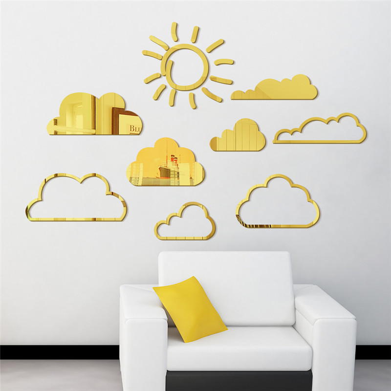 Sun And White Clouds Art Wall Mirror Stickers Quotes For Kids Rooms ...
