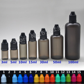 100 pc of 3 ml,  500 pc of 15 ml plastic black dropper bottles with childproof black lid