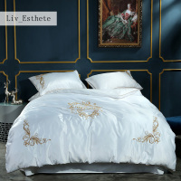 Liv_Ethete Luxury White Silk Bedding Set Emboidery Home Textiles Soft Silky Duvet Cover Set Bed Set With Flat Sheet Bedspread