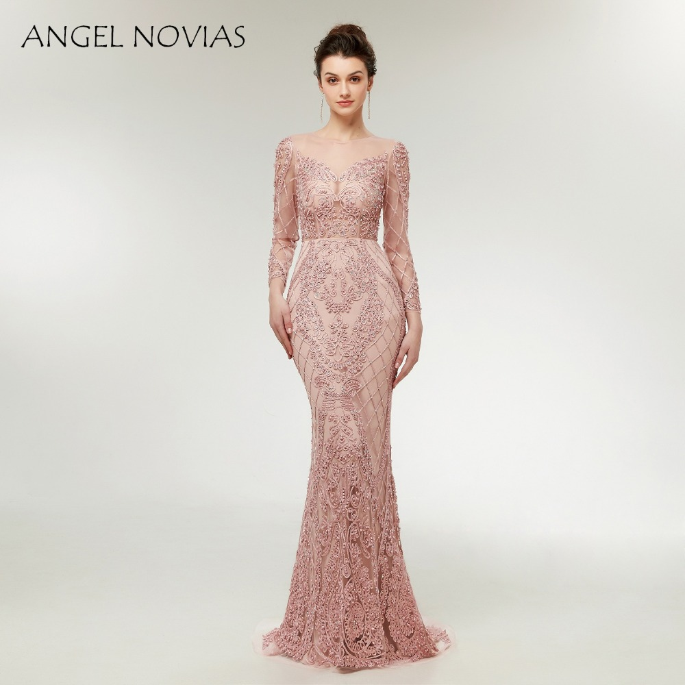 c3b407a624 Angel Novias Abendkleider 2018 Long Sleeves Embroidery Lace Nude Pink Evening  Dress 2018 Formal Dress Women