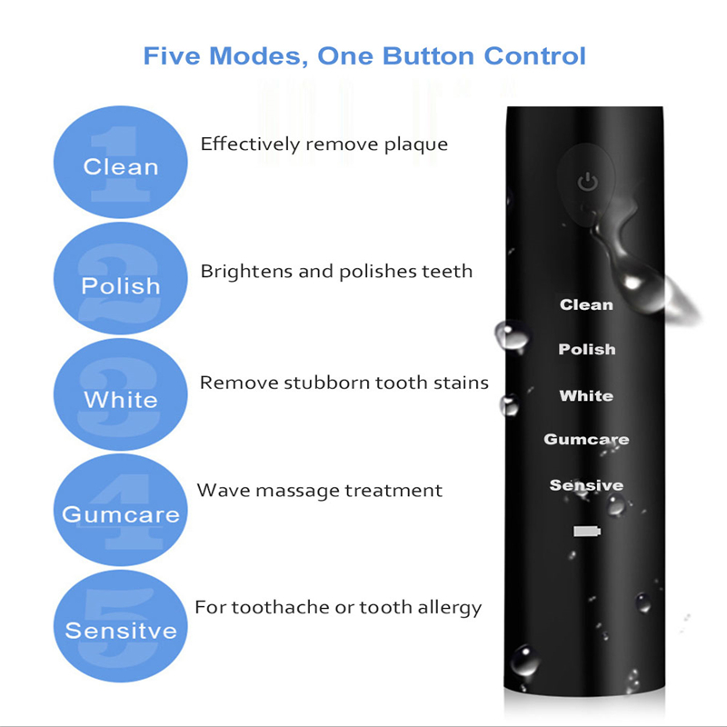 Electric Toothbrush Sonic Wave Rechargeable Top Quality Smart Chip Toothbrush Head Replaceable Whitening Tooth brush