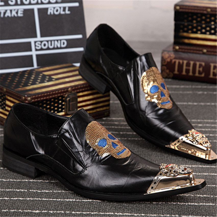 Skull Paillette Embroidery Men Real Leather Shoes Wedding Party Dress Shoes  Metal Pointed Toe Men Flats 9f9827cd44f0