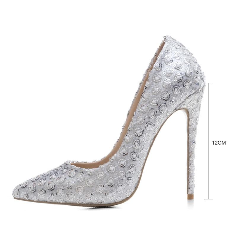 Plataforma Boda Partido Zapatos 43 Bombas Brillante Fanyuan Silver Único Alto Novia Diseño De Diamante Tacón Bling Tamaño qtwYUH