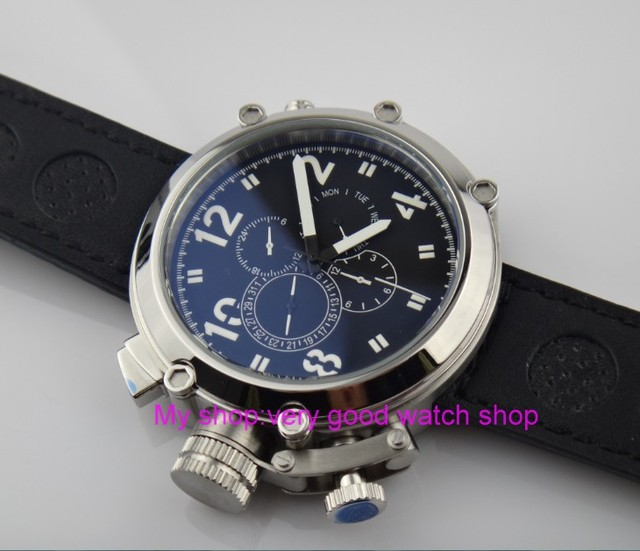 Left-handed model 50mm PARNIS black dial Automatic Self-Wind movement men's watch Multi-function Mechanical watches 201 1