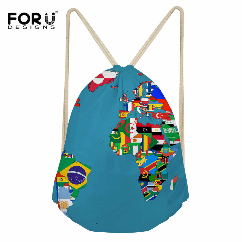 FORUDESIGNS Travel Shoes Bags Kids Portable Drawstring Bags for Men Women World Map Printing Folding Shoe Storage Pouch Rope New