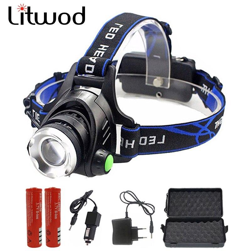 Litwod 568D LED Scheinwerfer Aluminium XM-L L2/T6 Zoom Led-scheinwerfer Kopf Taschenlampe Einstellbare Kopf Lampe 18650 Batterie Vorne licht