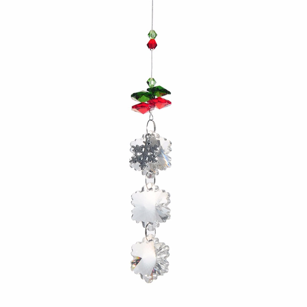 25mm snowflake christmas hanging pendant lamp chandelier decorate parts k9 crystal prisms wedding party ornament suncatcher - Christmas Decorating Pendant Lights