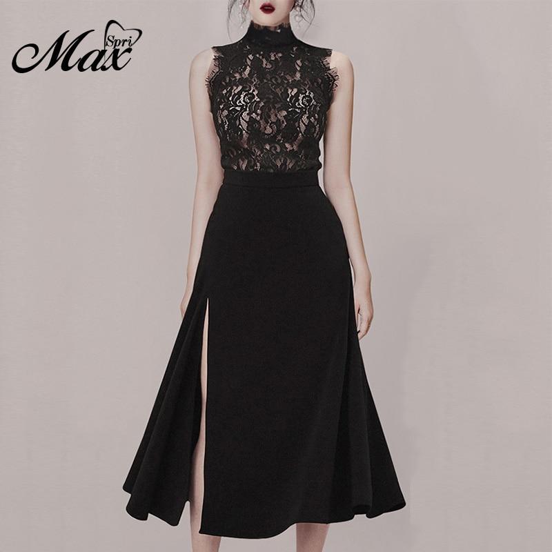 Max Spri 2019 New Style Women Sets O-neck Floral Lace Sleeveless Top Side Slit High Waist Midi Skirt