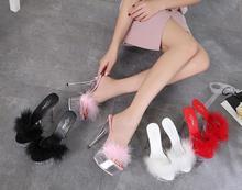 Zapatos de mujer 2018 Mao Sexy Super tacón alto 15 CM bien con impermeable  de zapatillas 90d32aec18ae