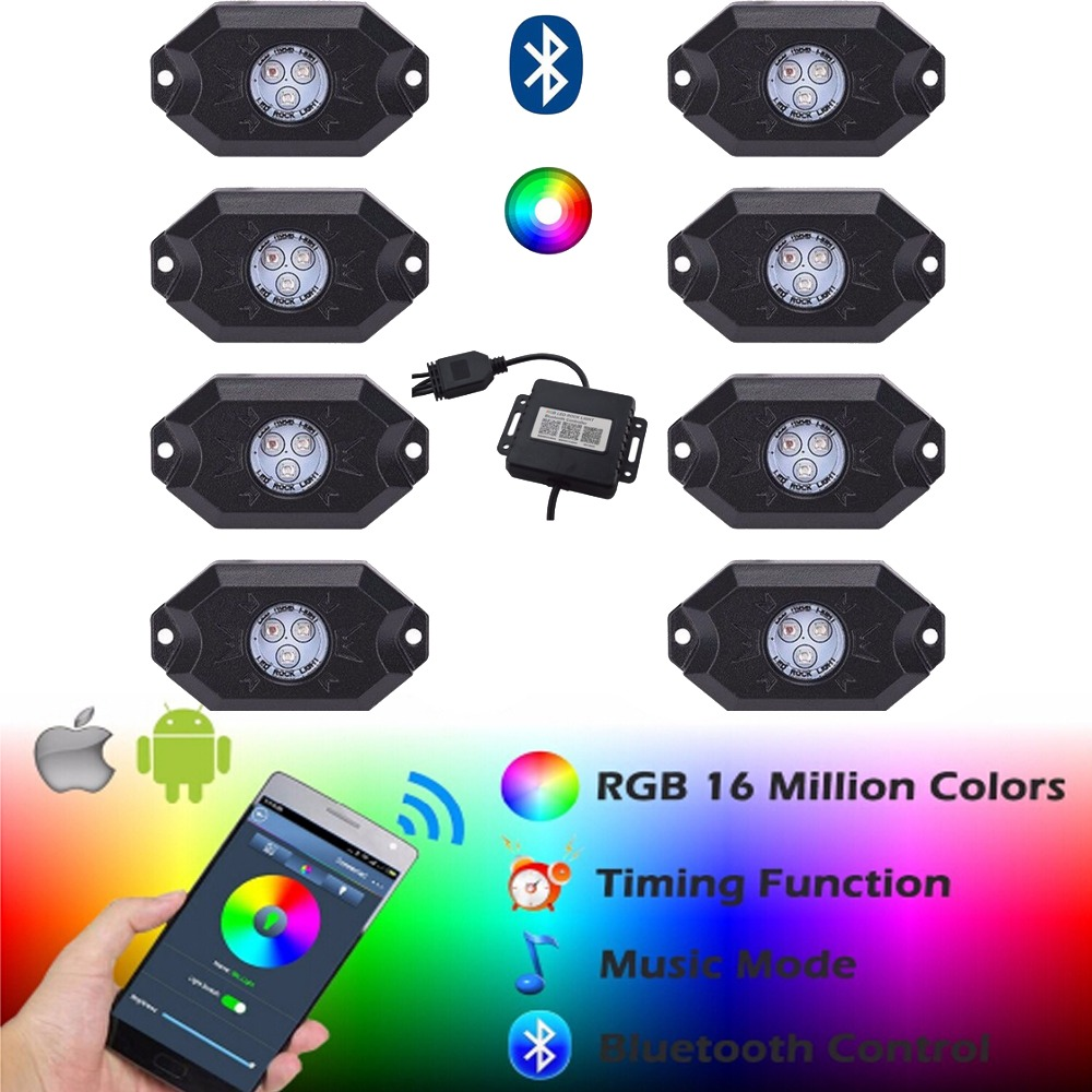 LIGHT 8PCS 3''9W Multi-Color RGB LED Rock Light Kit with Bluetooth Controller Timing Function Music Mode for Cars Truck Bus new shape new vci 2015 r3 tcs cdp pro plus 8pcs truck cable 8car cables with bluetooth for cars trucks