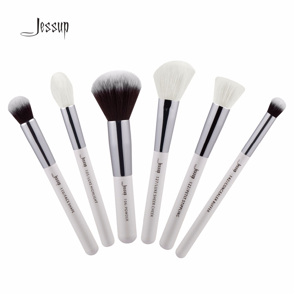 Jessup Brushes 6pcs Professional Makeup Brushes Set Makeup Brush Tools kit Buffer Paint Cheek Highlight T244 147 pcs portable professional watch repair tool kit set solid hammer spring bar remover watchmaker tools watch adjustment