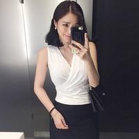Tank Top Women Vest Summer 2017 White Sleeveless Crop Tops Cropped Sexy Deep V Neck Top