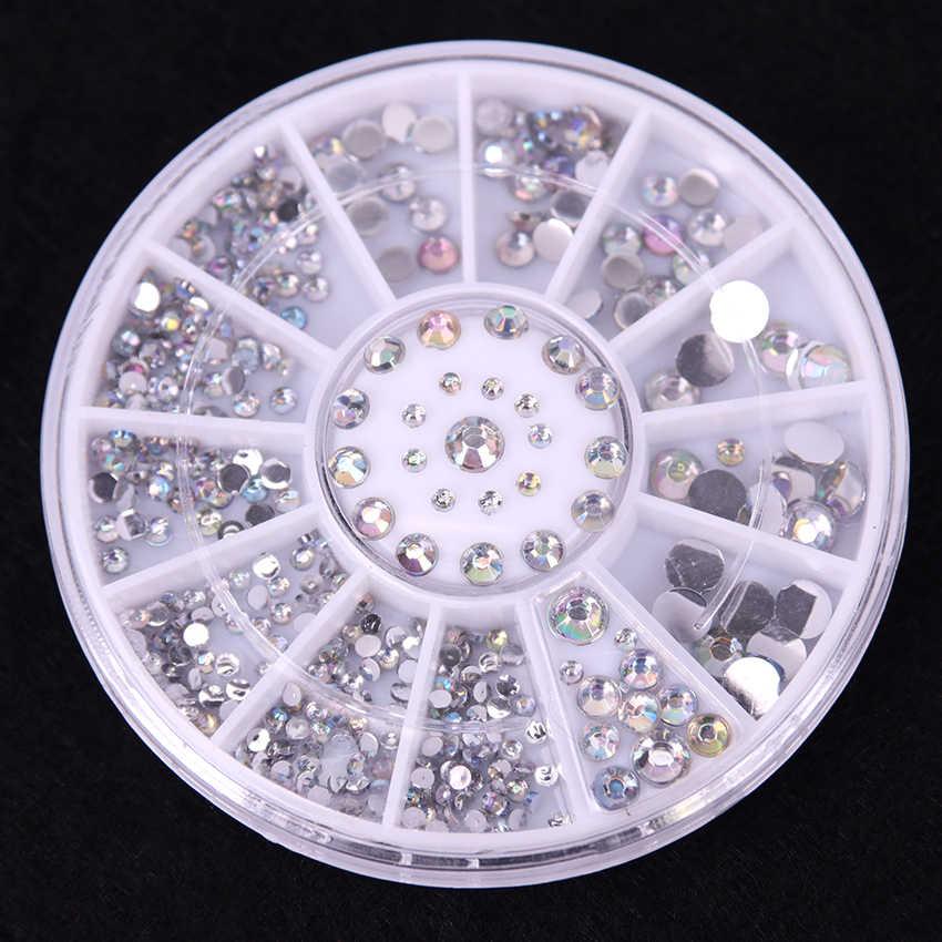 300 unid/caja DIY uñas arte rueda consejos cristal brillo Rhinestone 3D Nail Art decoración blanco AB acrílico diamante Taladro