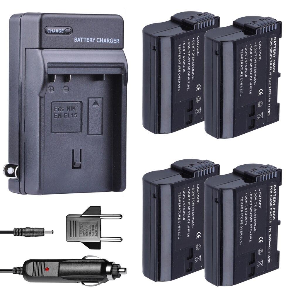Charger + bateria EN EL15 ENEL15 EN-EL15 Battery pack per Nikon D500, D600, D610, D750, d7000, D7100, D7200, D800, D800E,...
