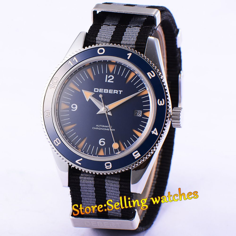 41MM Debert Wristwatches Blue Dial Luminous Marks Watch Nylon Strap Date Mens Automatic Watch Relogio Masculino купить недорого в Москве