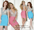 Robe de Cocktail Blue Fuschia Crystals Cocktail Dresses 2015 Backless Short Dress to Party Cap Sleeve Sheath Mini