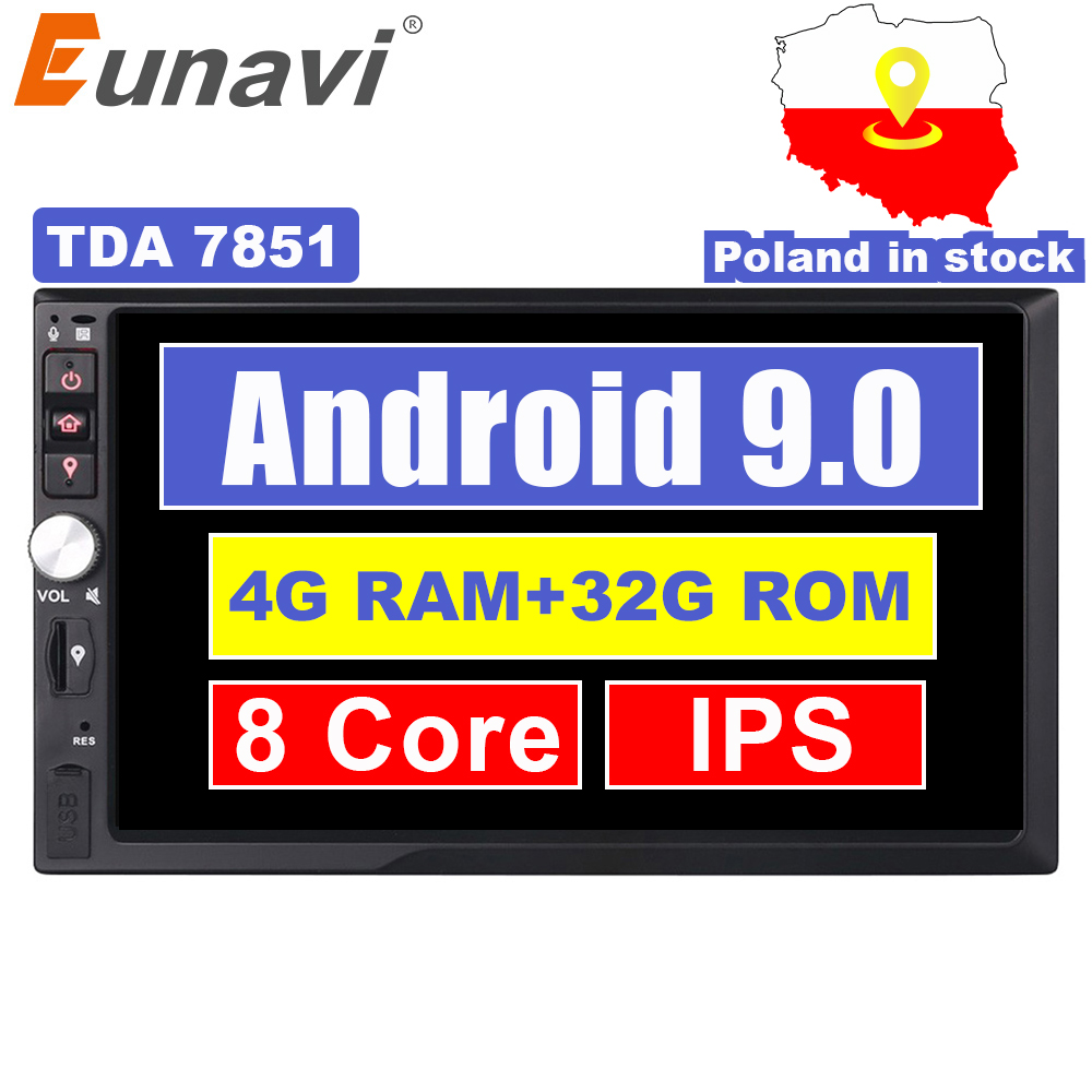 Eunavi 2 Din 7 ''4 GB RAM Octa núcleo Android 9.0 Universal Car Radio Stereo Navegação GPS Wi-fi 1024*600 Tela de Toque 2din Carro PC